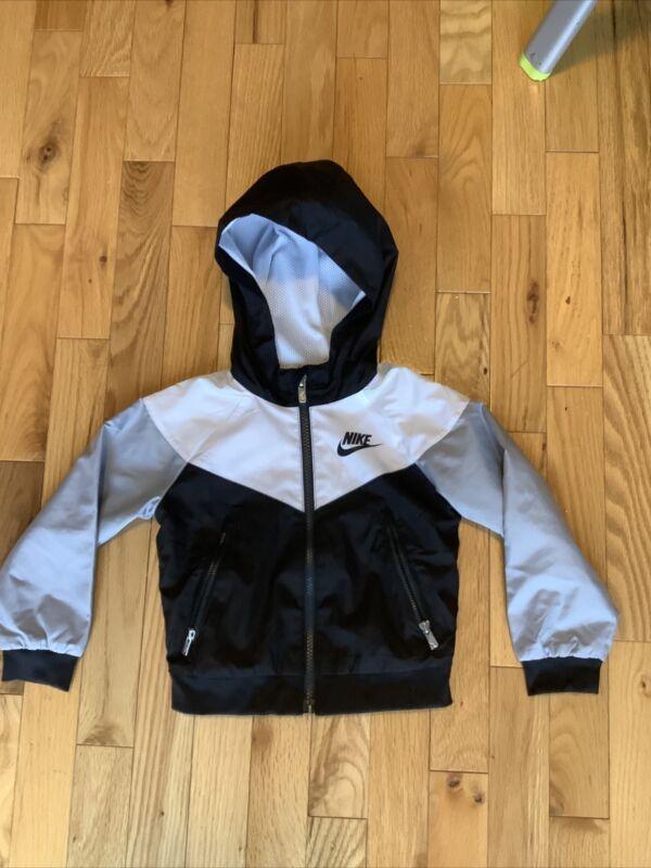 NIKE Sportswear Toddler Boy Hooded Windrunner Jacket - Black White Grey - 2T