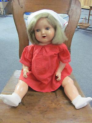 Puppe Schildkröt 48 mit rotem Kleid um ca. 1930