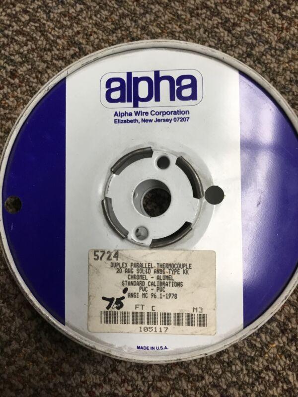 NOS 75' type K thermocouple wire 20Ga Solid Alpha 5724 Chromel-Alumel