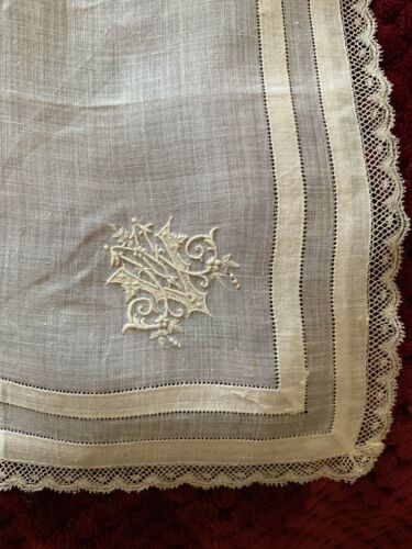 Antique French linon handkerchief, Hand embroidered, Initials MV, Valenciennes