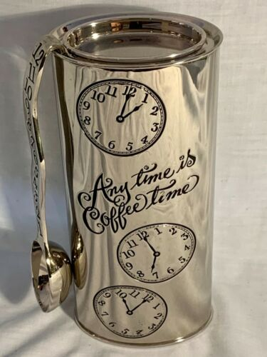 "NEIMAN MARCUS ""ANYTIME IS COFFEE TIME"" SILVERPLATE COFFEE CANISTER W/ SPOON"