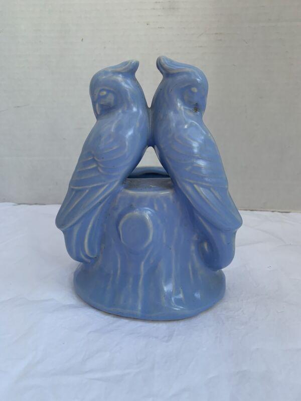 """Blue Birds on Tree Limb Vintage Planter Love Birds Parrots 6.5"""" Made in USA"""