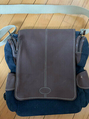Tod's leather brown navy blue leather messenger bag Mint condition