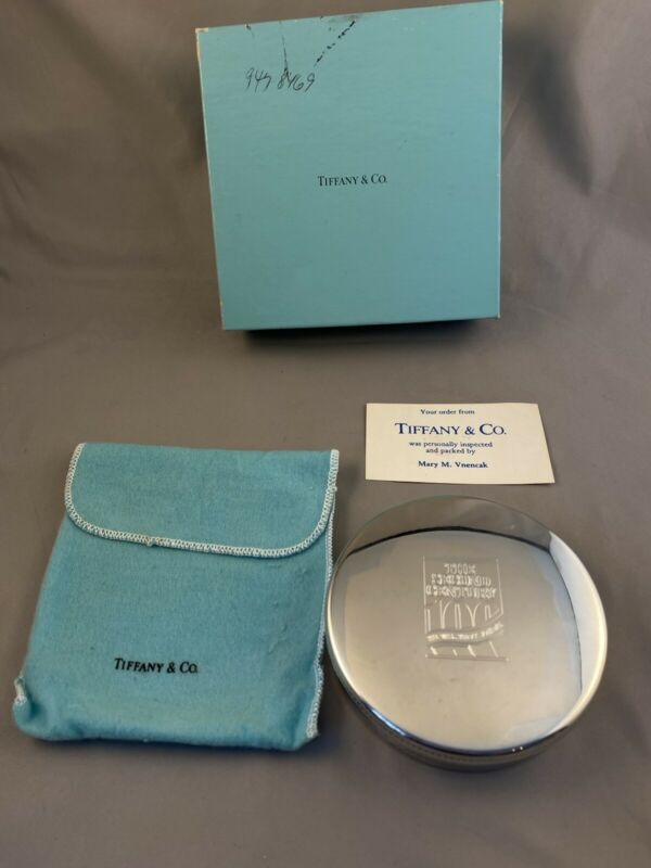 Vintage Tiffany & Co TrinketBox Pewter Velvet Lining Wall St Journal Anv W/ Box