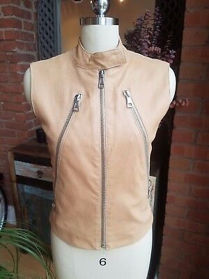 Maison Martin Margiela Womens Lambskin Leather Biker Vest Made in Italy US6 IT42