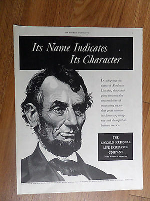 1951 Lincoln National Life Insurance Ad Its Name Indicates Its Character Abraham