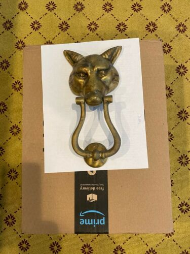 Vintage Solid Brass Large Size FOX HEAD Door Knocker with Knocking Disk.