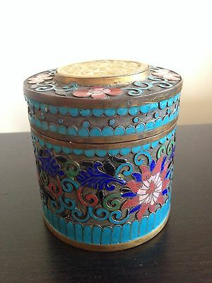 Fine Old Antique Chinese Cloisonne Champleve Enamel Lidded Jar Carved Hard Stone
