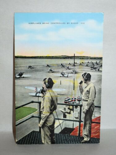 A18. LINEN POSTCARD AIRPLANES BEING CONTROLLED BY RADIO DEC 21 1941 / RC