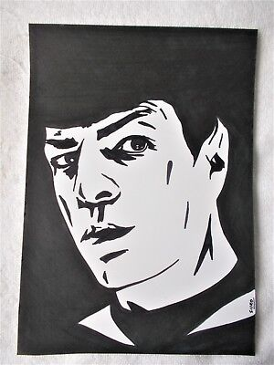 A4 Art Marker Pen Sketch Drawing Zachary Quinto as Spock B from Star Trek Poster