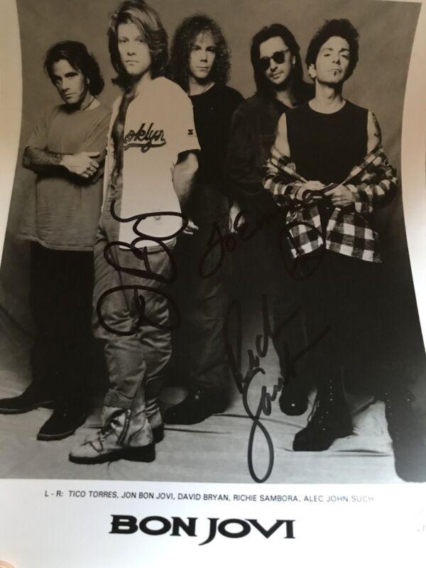 "Bon Jovi Dual Hand Signed Jon Bon Jovi & Ritchie Sambora Press Photo 1993 ""Emma"""