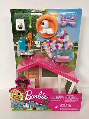 New Mattel Barbie Dog House & Accessories Bed, Bowl..Playset In Unopened Package