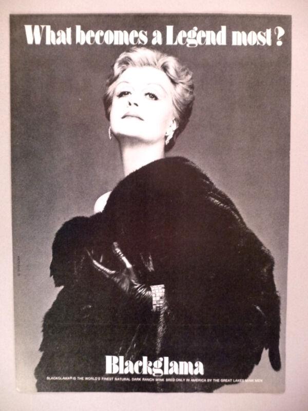 Blackglama Furs PRINT AD - 1979 ~~ Angela Lansbury ~ What Becomes A Legend Most