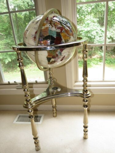 "VINTAGE ALEXANDER KALIFANO MOTHER OF PEARL GEMSTONE 36"" TALL WORLD FLOOR GLOBE"