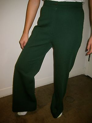 Vtg 60s 70s Womens BELL BOTTOM Dark Green Polyester Disco MOD Hippie Flare pants