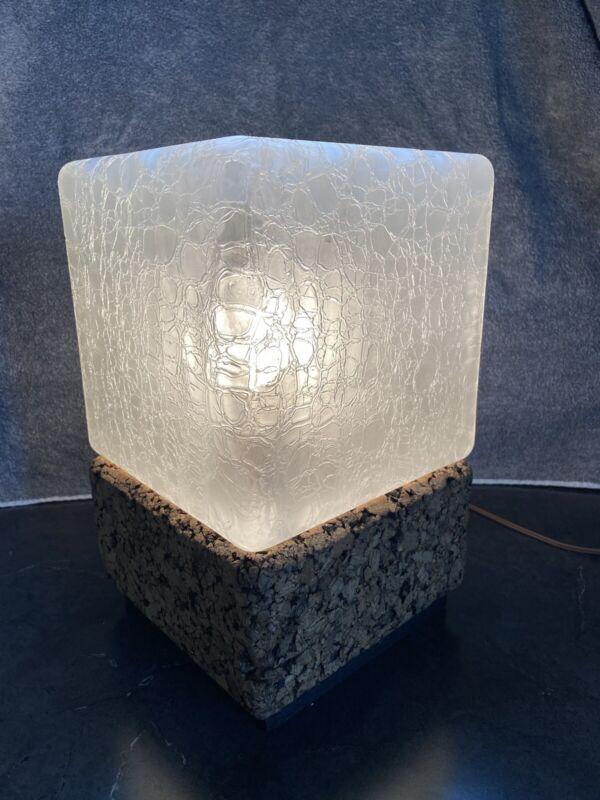 Vintage Mid Century Modern Ice Cube Cork Crackle Glass Shade Lamp LIGHT
