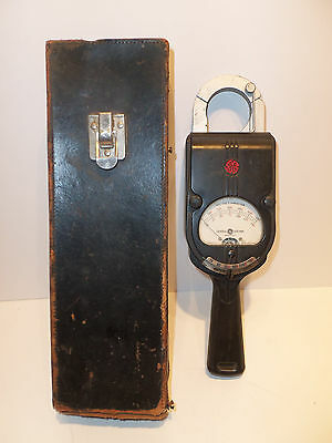 Vintage Ge Hand-held Clamp-on Ac Volt Ammeter Retro Art-deco Type Ak1 60cy Works