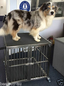 Heavy Duty 1 Berth Foldable Folding Stainless Steel Dog Show Trolley Crate Wheel