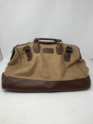 Duluth Trading Mens XL Canvas Leather Belted Duffle Travel Carry On Luggage Bag - $50.00