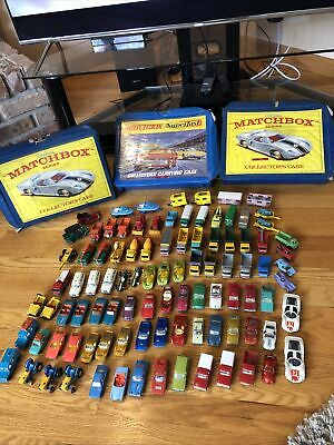 Lot of 97 Vintage 1960s-1970s Lesney Matchbox Car Lot With 3 Collector Cases