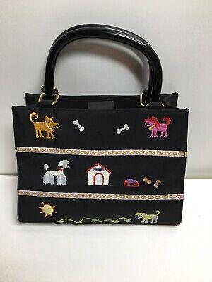 Black womens handbag purse puppy dog design lucite handles Kim Rogers - Black Dog Designer Handbag