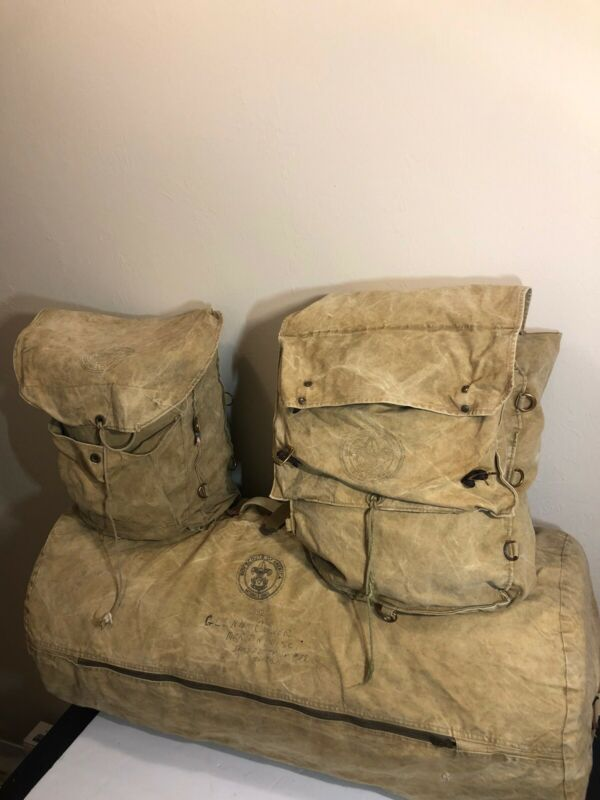 LOT OF 3 VINTAGE BOY SCOUTS OF AMERICA 2 CANVAS BAGS YUCCA PACK 1 Duffel Bag BSA