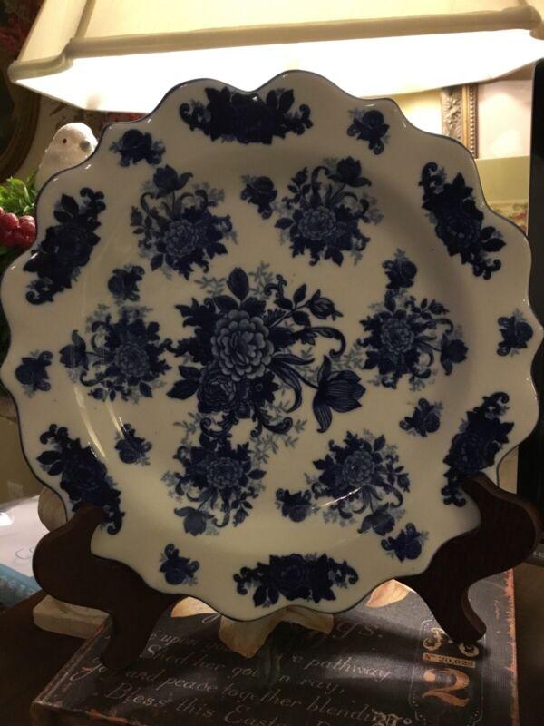 "Blue & White~Flow Blue~12"" Floral Platter~Large Serving~FREE SHIP 😃Beautiful~😘"