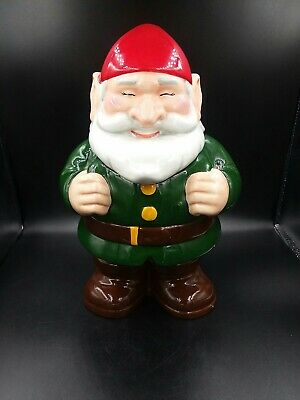 Garden Gnome Cookie Jar Ceramic Green Outfit 12