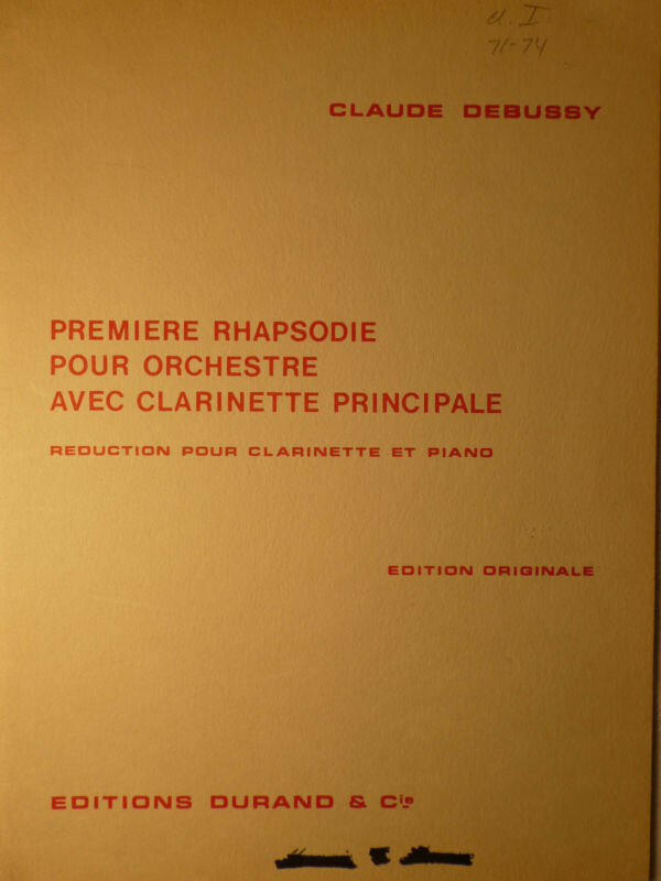 PREMIERE RHAPSODIE-CLAUDE DEBUSSY Bb CLARINET & PIANO  FREE SHIPPING