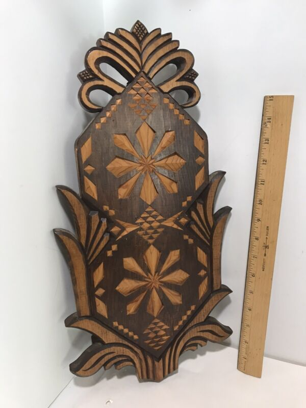 Vintage Chip Carved Solid  Wood  Board/Tray WALL ART