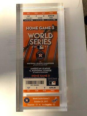 Houston Astros 2017 World Series Game 5 Ticket Stub in Lucite