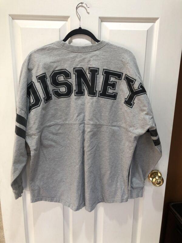 Disney Mickey Gray with Black letters Spirit Jersey Shirt Women's Sz L