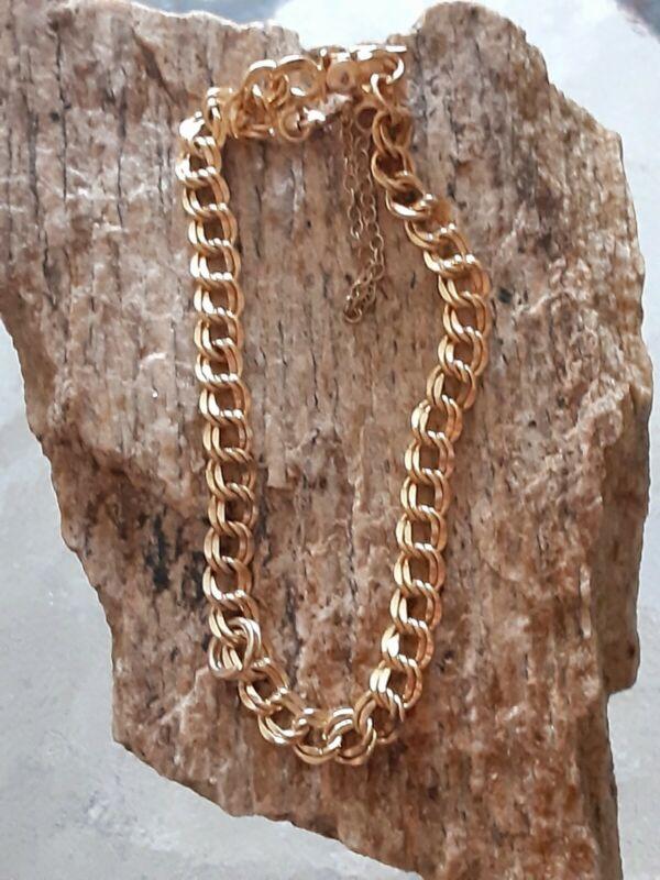 Vintage ELCO 12k Gold GF Double Chain Link Charm Bracelet 7 inches 5.6 Grams