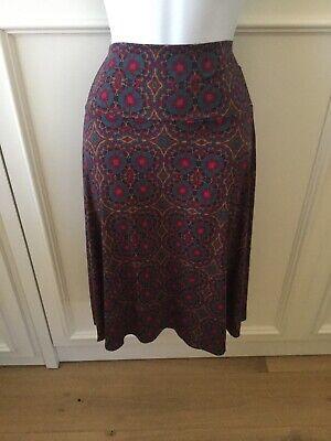 LuLaRoe Midi A-line Azure Skirt Size Large Burgundy Purple Multicolor Hi-Lo