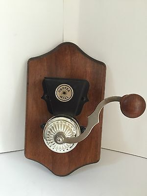 Decorative Wood and Metal Old Fashioned Coffee Mill Grinder Kitchen Wall Decor