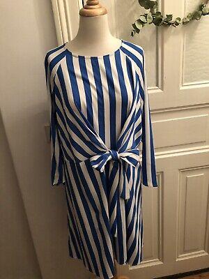 PIECES Kleid Dress Bluse Tunika Top Cocktail Hemd Blogger XL Weiß Blau Neu Cocktail-bluse