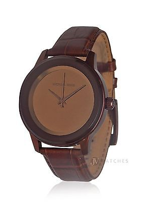 New Womens Michael Kors  Mk2457  Kinley Copper Brown Leather Strap Watch Sale