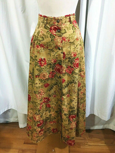 VTG 80s LIZSPORT Dijon/Red ROMANTIC ROSES Button Front 1980s FULL Midi SKIRT S