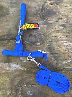 Bmb Adjustable Blue Nylon Sheep Goat Halter Wlead