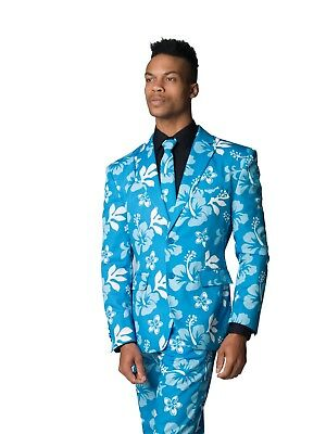 Big Kahuna Blue Floral Hawaiian Print Costume Suit