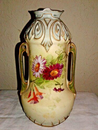Antique Austrian Hand-Painted Floral Porcelain Vase (1850-1890s)