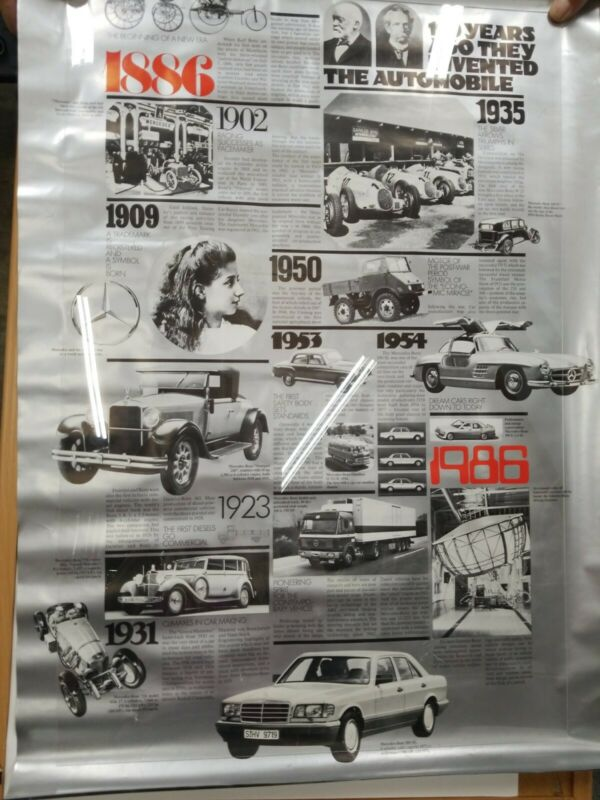 Rare Vintage 100 Years of Automobiles Mercedes Benz  2 sided poster 1886 (4.2)