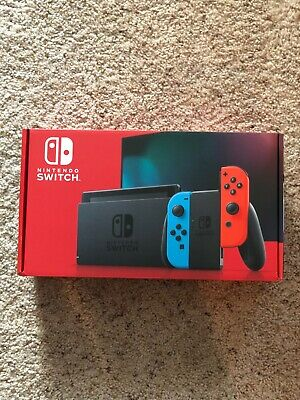 NEW Nintendo Switch 32GB Gray Console with Neon Red and Neon Blue Joy-Con (V2)