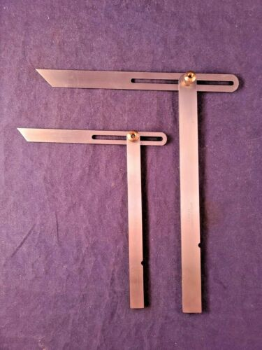 """Two Excellent Mint NOS Vintage Stainless Steel Bevel Squares 6 & 8"""" Shinwa Japan"""