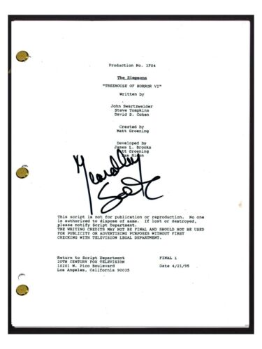 Yeardley Smith Signed THE SIMPSONS Treehouse of Horror VI Episode Script COA