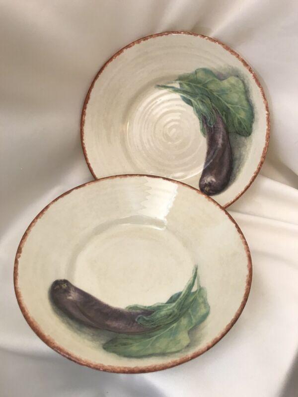 "WILLIAMS SONOMA set of 2 JARDIN POTAGER 9 7/8"" pasta bowls - Eggplant"