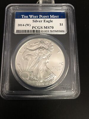 PCGS 2014-(W) MS70 American Silver Eagle West Point Mint