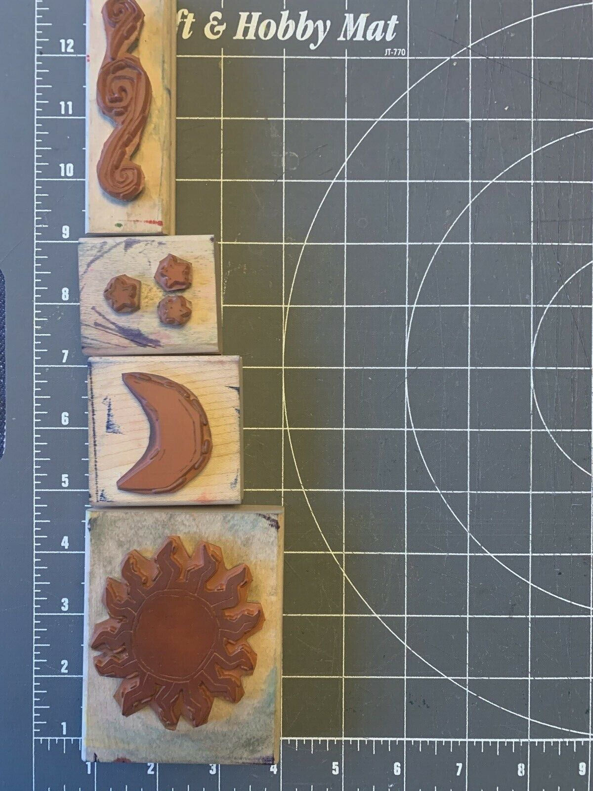 USED Lot Of 4 1995 Celestial Skies Wood Mounted Rubber-stamps Stamping Up  - $10.00