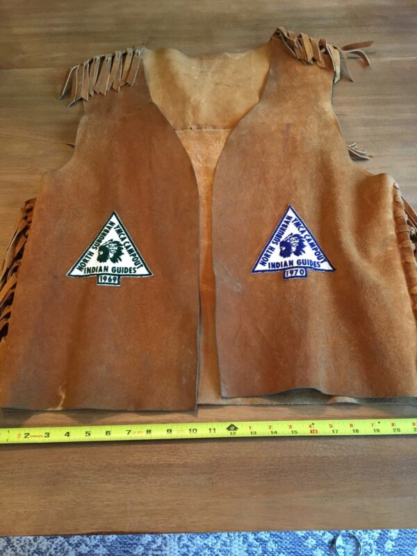 vtg 60s 70s ymca indian guides leather suede vest w/ patches Adult 1969 1970