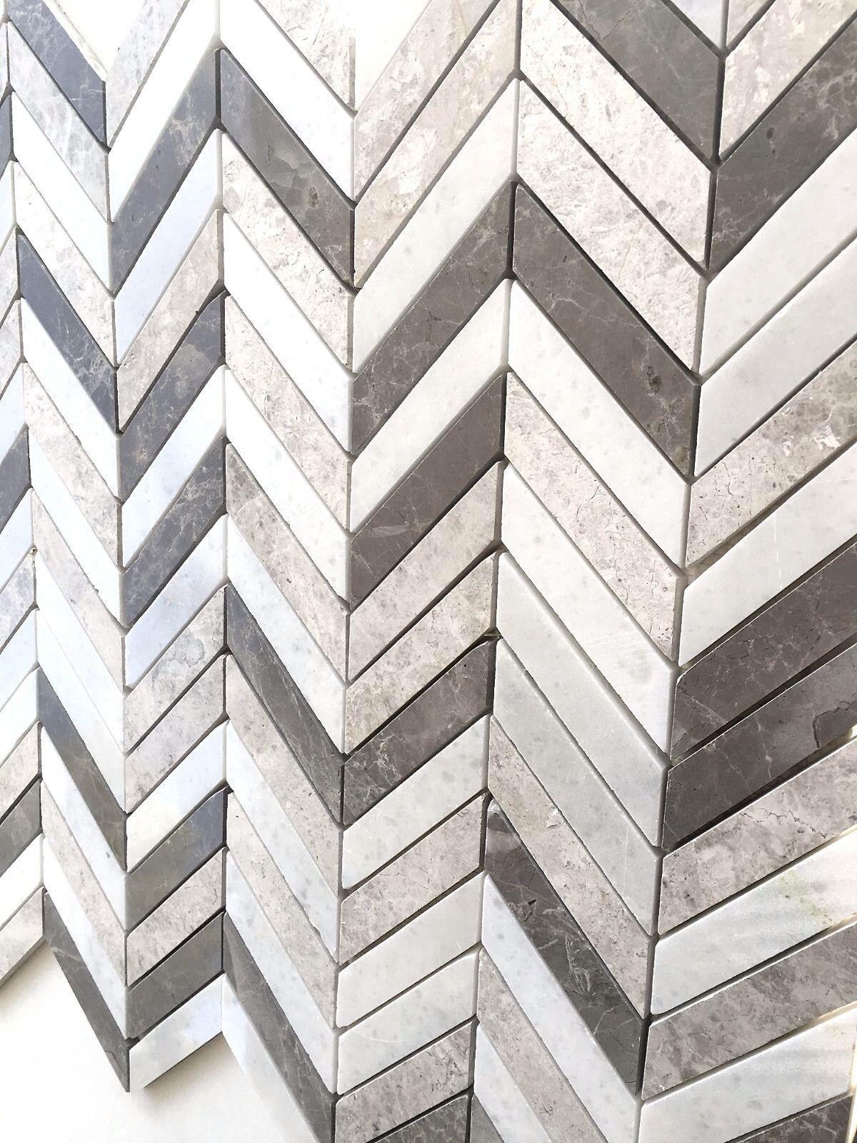 Carrara Gray Mix Chevron Marble Mix Mosaic Wall and Floor Tile Backsplash Bath
